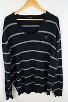 Gant Men Jumper Casual Navy Blue Striped Cotton V Neck size XXL