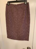 Carolina Herrera Womens Knee Length Pencil Skirt  Wool Burgundy Size 6