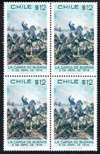CHILE 1980 STAMP # 972 MNH BLOCK OF FOUR LA CARGA DE BUERAS BATTLE