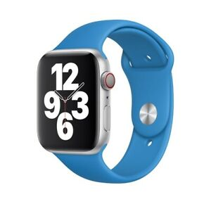 Official Genuine Apple Watch Sport Band Silicone Strap Surf Blue 42/44mm MXP02FE