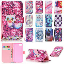 Flip Leather Patterned Wallet Strap Card Stand Case Cover For Smart Mobile Phone