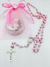 NEW 24-Baptism Favors Rosaries Cross Scented Pink Recuerdos de Bautizo Rosario