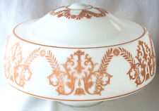 """Light Fixture Shade Milk Glass Schoolhouse 16 x 10"""" Vintage Gold Patterned"""