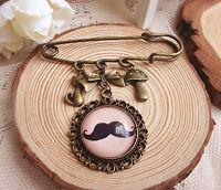 1 Women Girl Beard Retro Vintage Look Cameo Scarf Collar Hat brooch Brooche Pin