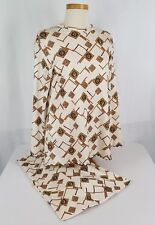 Vtg Mod 60s 70s Polyester Outfit 2 Piece Bell Bottoms Ruffle Boho Hipster Sz 12