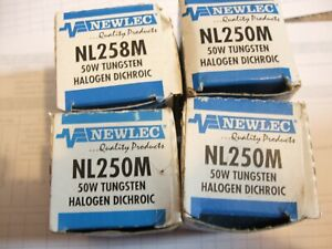 4 X NEWLEC NL250M DICHROIC HALOGEN 12V GU5.3. 50W ENERGY. 50W LIGHT.  38 DEGREE