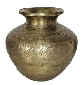 RARE Vintage BRASS HINDU HOLY WATER POT BEAUTIFUL WORKED HINDU LORDS ENGRAVED 02