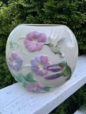 Limited Edition Handpainted Lenox Vase Hummingbirds & Flowers Signed 43/50