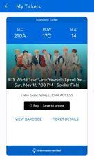 """BTS World Tour """"Love Yourself: Speak Yourself"""" Concert - 1 Ticket, Soldier Field"""