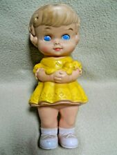 Vintage 1962 Edward Mobley Rubber Doll / Squeaky Baby Toy / Girl with Teddy Bear