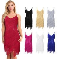 Damen Glänzende Pailletten Kleider Tanzkleid Latein Salsa Tango Kleid Kostüm
