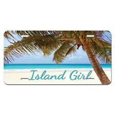 Island Girl - Tropical Beach Palm Tree Novelty Metal Vanity License Tag Plate