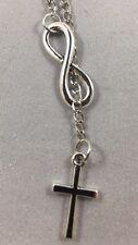 Cross Infinity Necklace Silver Interlocking