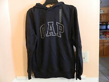 NWT GAP mens long sleeve pullover hoodie, black smoke w/crackle logo size XS