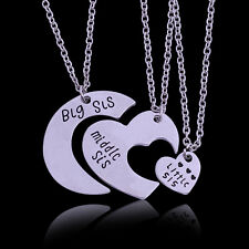 Charm Big Middle Little Sister Heart Moon Pendant Necklace Chain Friendship Gift