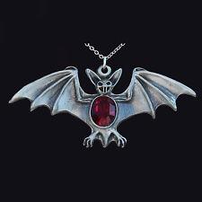David hinwood Peltro Gotico Pipistrello Pendente Pietra Rossa. Pipistrello Vampiro Halloween.