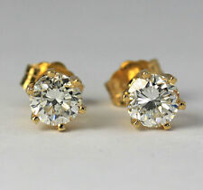 Diamond stud earrings 14K yellow gold 2 round brilliant .80CT studs 6 prong chic