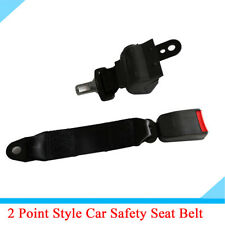1PC 2 Point Style Retractable Car Seat Safety Belt Buckle Adjustable Black Nylon