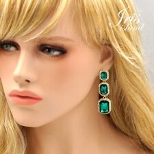 Gold Plated Emerald Green Crystal Rhinestone Wedding Drop Dangle Earrings 01324