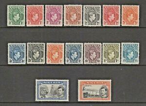NIGERIA GVI 1938-51 DEFINITIVE SET OF SIXTEEN SG.49/58a+59a MOUNTED MINT
