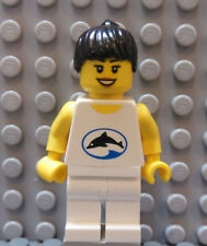LEGO Classic Town Girl Female Black Hair Smile Dolphin on Torso Beach Ocean
