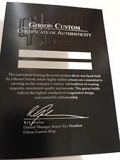 Gibson Les Paul SG V ES335 Custom Shop COA Certificate Of Authenticity BLANK