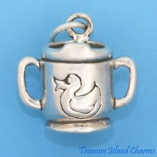 BABY SIPPY DRINK CUP with DUCKY 3D .925 Sterling Silver Charm SIPPER