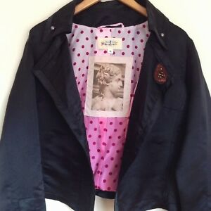 TRELISE COOPER jacket 16 Ombré lining button detail Black silk satin designer