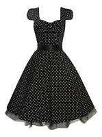 Womens 1950's Vintage Style Black Polka Dot Bow Front Swing Tea Dress New 8 - 20