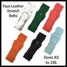 Faux Leather Stretch Belts 50s Rockabilly PinUp Plus Belt Black Orange XS - 2XL
