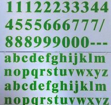 GREEN Small 3cm WHEELIE BIN HOUSE NUMBERS ADHESIVE WHEELY STICKY & ALPHABET