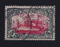 German Southwest Africa Sc #25 (1901) 5m slate & carmine Kaiser's Yacht Used