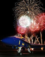 U.S. NAVY BLUE ANGELS FIREWORKS DISPLAY 8x10 SILVER HALIDE PHOTO PRINT