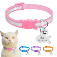 Reflective Breakaway Personalized Kitten Cat Collar Custom ID Name Engraved Bell