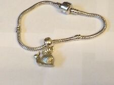 Snail Tg318 on a silver Rhodium Plated Snake Bracelet