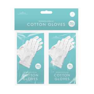 2 Pairs Dermatologocal 100% Cotton Gloves Dry Skin Eczema Ointments Cream Lining