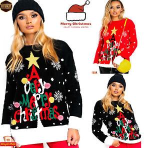 Womens Ladies XMAS Novelty Merry Christmas Light Up Vintage Jumper Sweater Dress