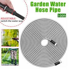 Flexible Stainless Steel garden hose Water Pipe 25/50/75/100FT Lightweight New