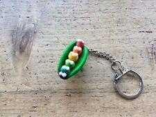 Gay Pride Keyring Rainbow Lesbian LGBT Handmade Pea Pod Peas Cute Cool