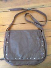J Jill Brown Soft Glove Leather Silver Studded Studs Handbag Purse Shoulder Bag