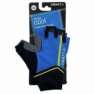 Craft Stay Cool Unisex Puncheur Cycling Gloves Blue Stretch Elastic Panel M New