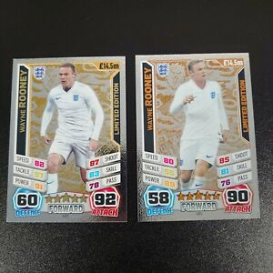 Match Attax World Cup 2014 England LE1 Wayne Rooney GOLD, Bronze Limited Edition