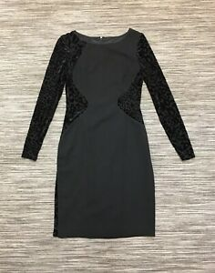 Coast Women's Long Sleeve Boat Neck Zip Up Knee Length Pencil Dress Black 10