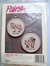 Vintage Counted Cross Stitch Kit Baby Lamb & Cow Plastic Frames SEALED French