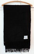 """HARRODS Black 100% CASHMERE Sofa THROW BLANKET So SOFT Made Scotland 29""""x88""""+2"""""""