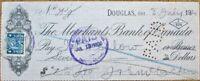 Douglas, Ontario 1920 'Merchants Bank of Canada' Check w/Revenue Stamp - Ont