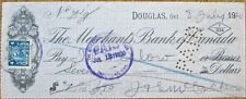 Douglas, Ontario 1920 'Merchants Bank of Canada' Check w/Revenue Stamp - Ont
