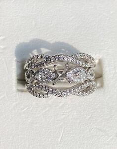 7.4g 14K White Gold 1.0 TCW Marquise & Round Cut Diamond Engagement Semi Mount