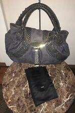AUTHENTIC MINT CONDITION FENDI DENIM AND LEATHER SPY BAG WITH DUSTBAG