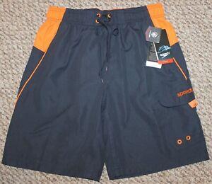 New! Mens Speedo Sport Volley Swim Trunks (Shorts; Blue/Orange) - Small